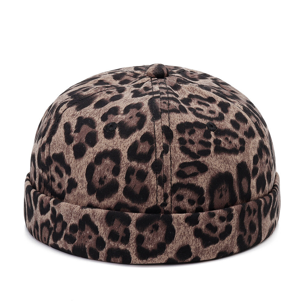 Unisex Vogue Winter Warm Brimless Hat Melon Leopard Outdoor Windproof Casual Adjustable Retro Hat