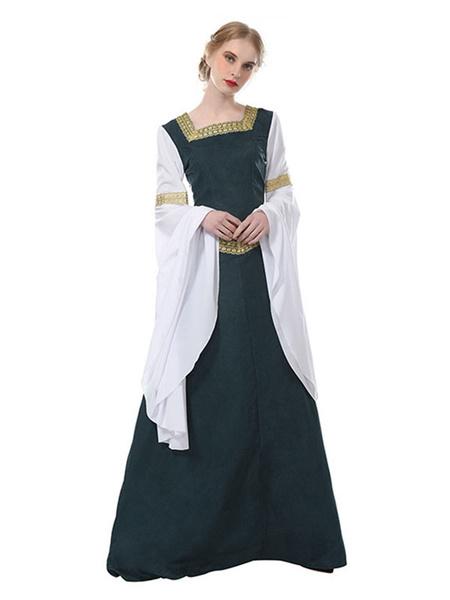 Milanoo Disfraz Halloween Disfraz Medieval Medieval Reina Renacimiento Mujere Gotico Victoriano Cosplay Maxi vestido Vestido de la Vendimia Halloween