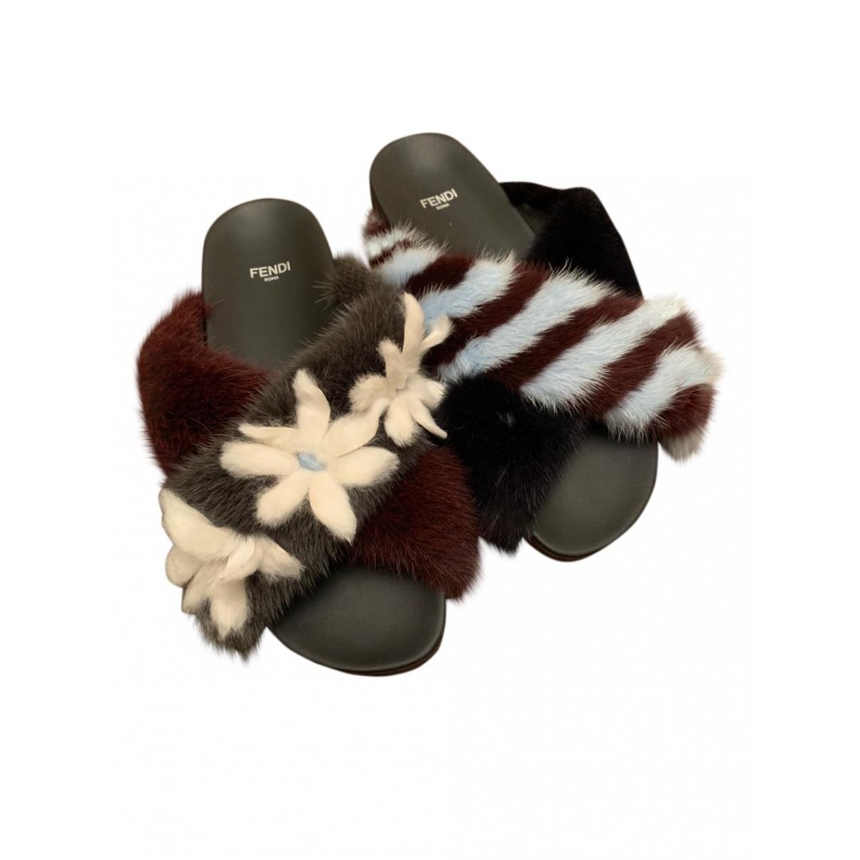 Fendi \N Black Mink Sandals for Women 40 EU