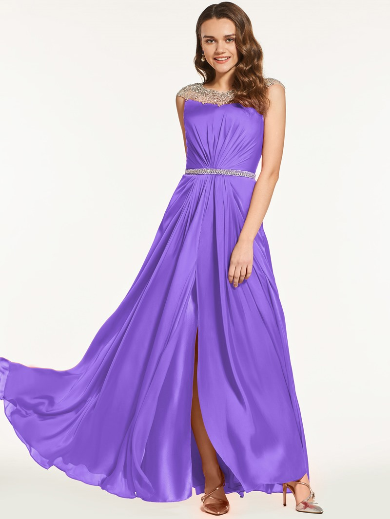 Ericdress A Line Beaded Cap Sleeve Long Prom Dress With Side Slit