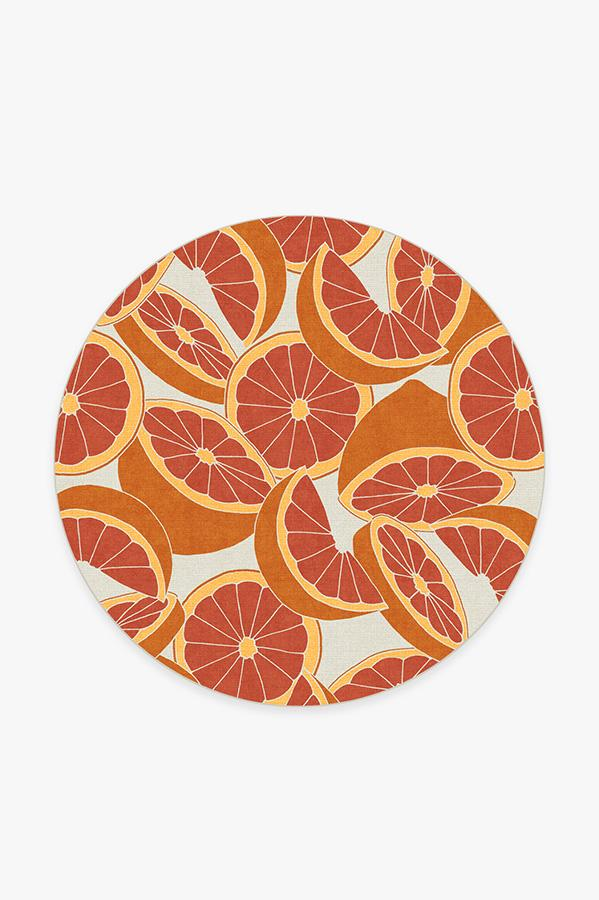 Washable Rug Cover & Pad | Citrus Blood Orange Rug | Stain-Resistant | Ruggable | 6' Round