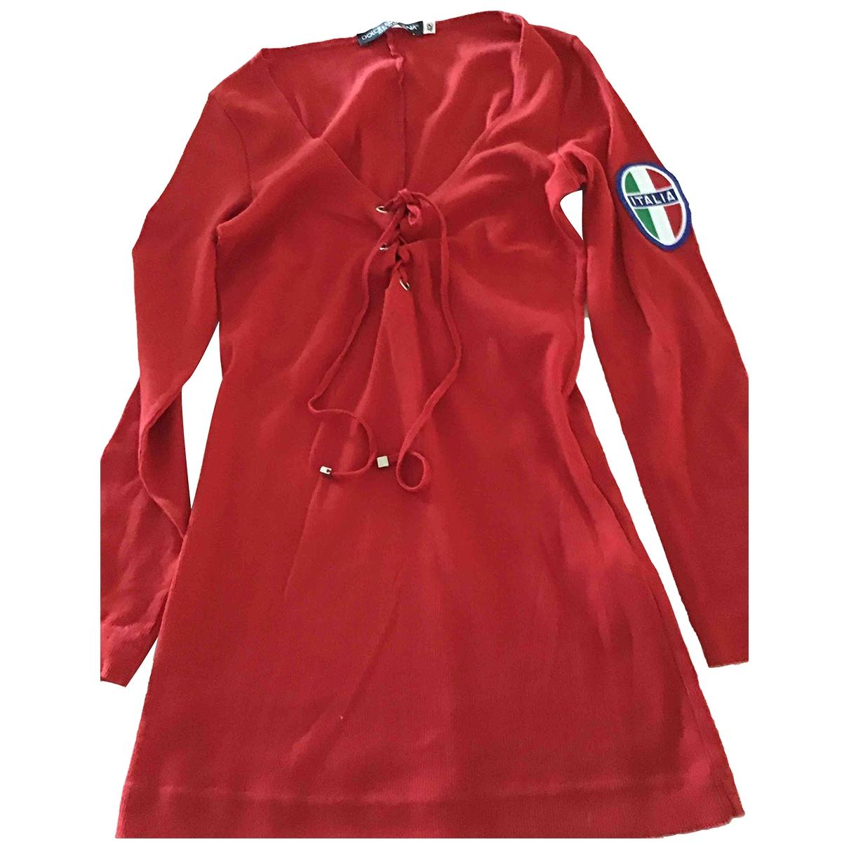 Dolce & Gabbana - Pull   pour femme en coton - rouge