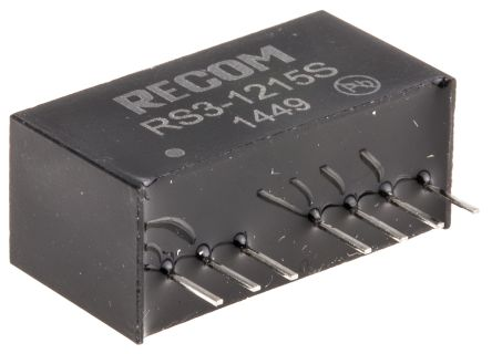 Recom RS3 3W Isolated DC-DC Converter Through Hole, Voltage in 9 → 18 V dc, Voltage out 15V dc