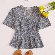 Camisa peplum de manga farol escote V floral de margarita