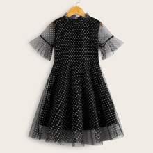 Maedchen A Linie Kleid mit Punkten Muster, Schosschenaermeln und Netzstoff
