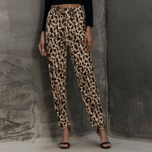 Allover Print Belted Pants