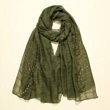 Einfarbiger Schal mit Strass Dekor