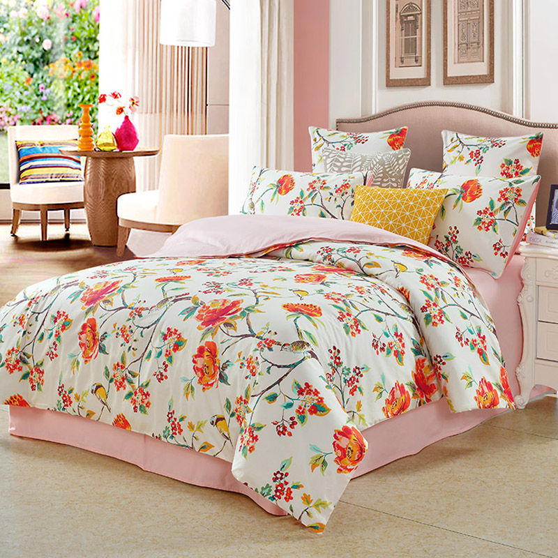 Floral Reactive Printing Four-Piece Set Duvet Cover Set Polyester Bedding Sets 2 Pillowcases