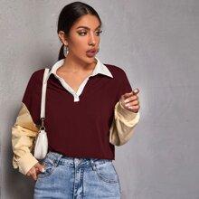 Drop Shoulder Colorblock Polo Shirt