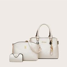 3pcs Tassel Charm Satchel Bag Set