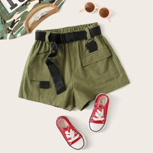 Girls D-ring Strap Detail Push Buckle Belted Shorts