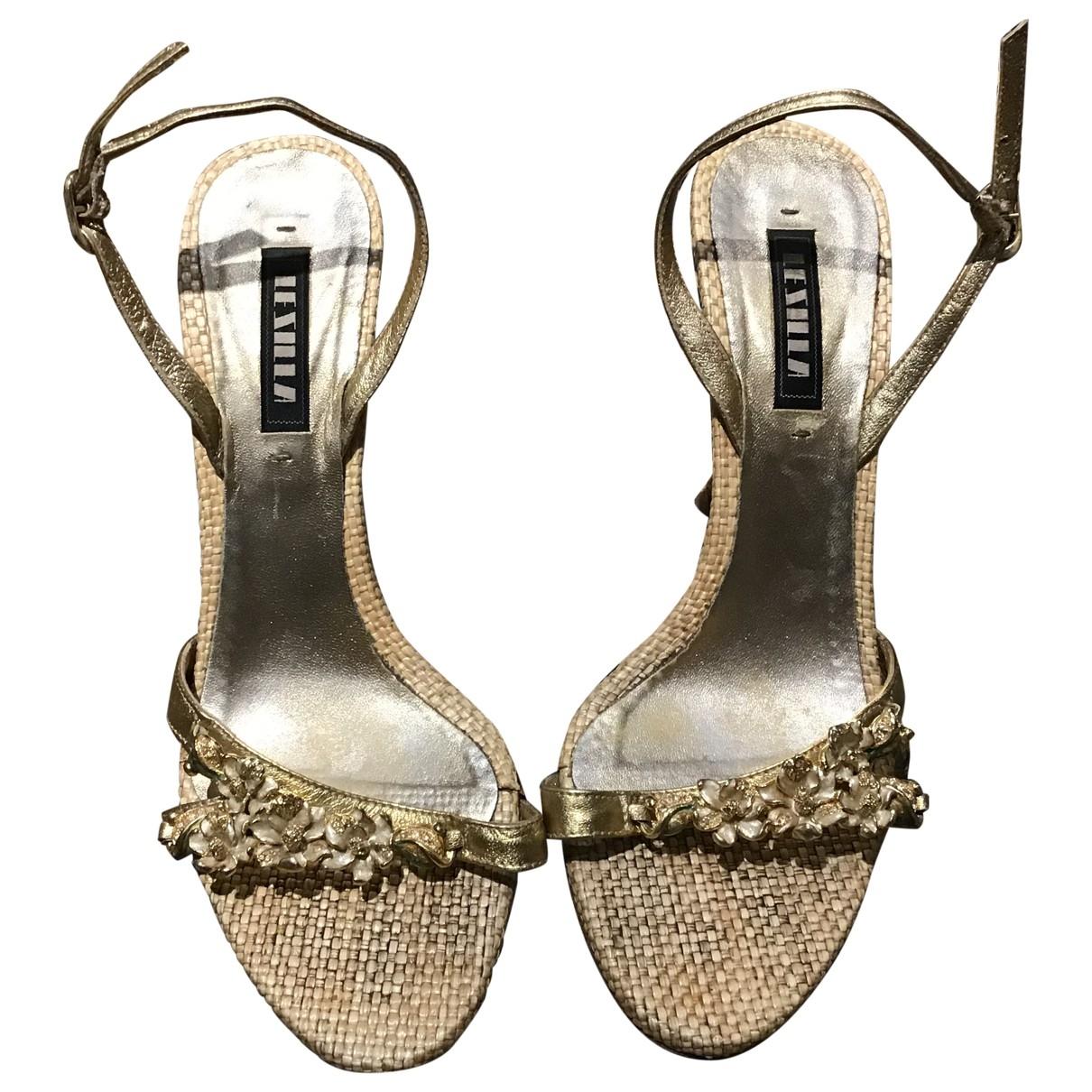 Le Silla - Sandales   pour femme en cuir - dore