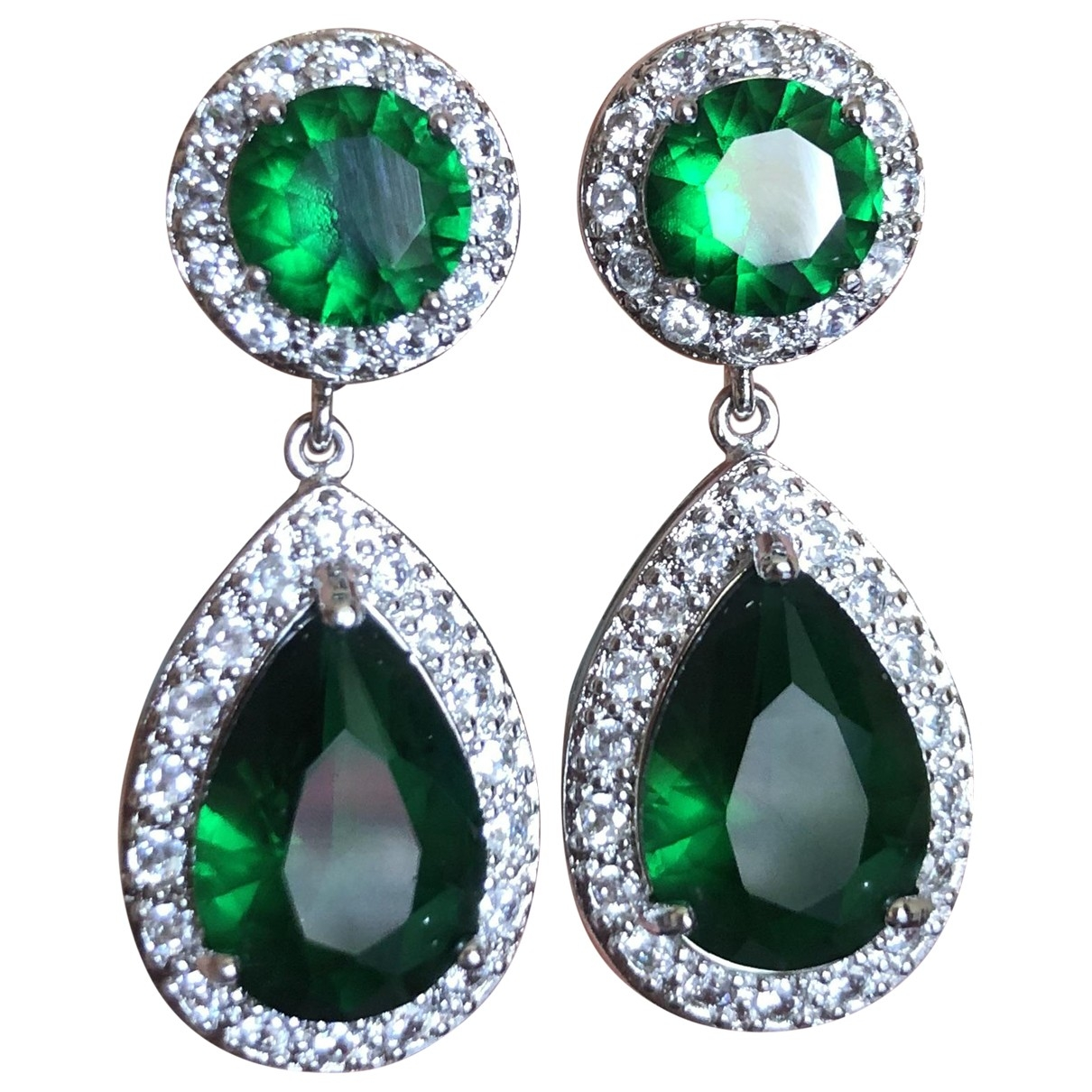 Non Signé / Unsigned \N Green Steel Earrings for Women \N