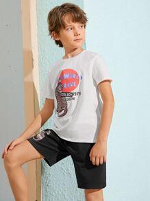 Boys Leopard & Slogan Graphic Tee & Shorts Set