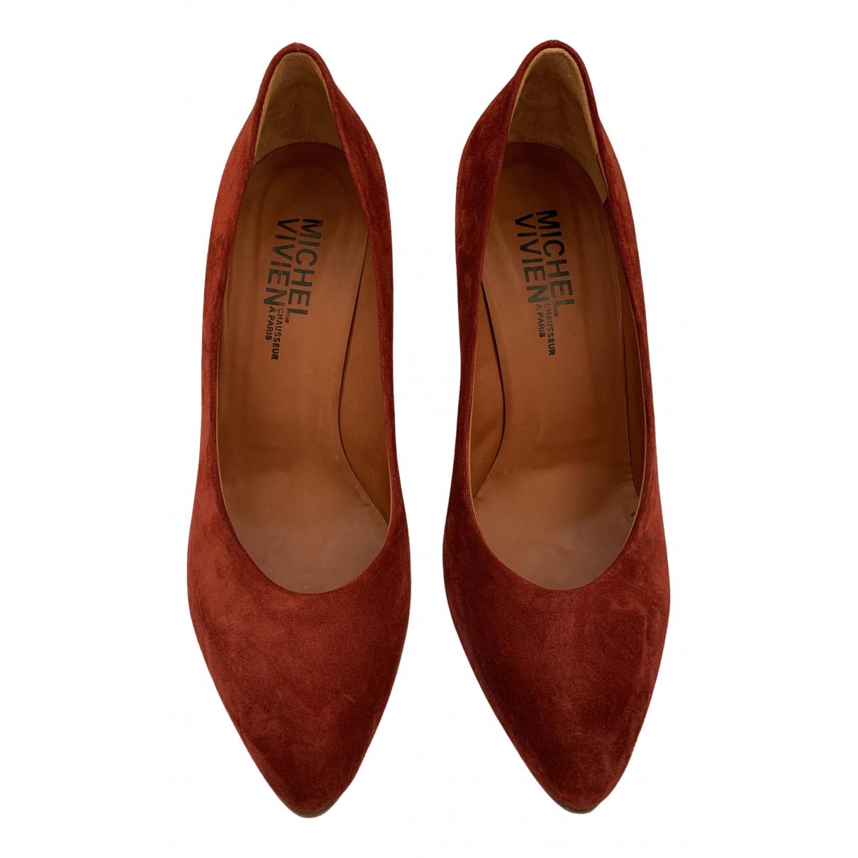 Michel Vivien \N Burgundy Velvet Heels for Women 38.5 EU