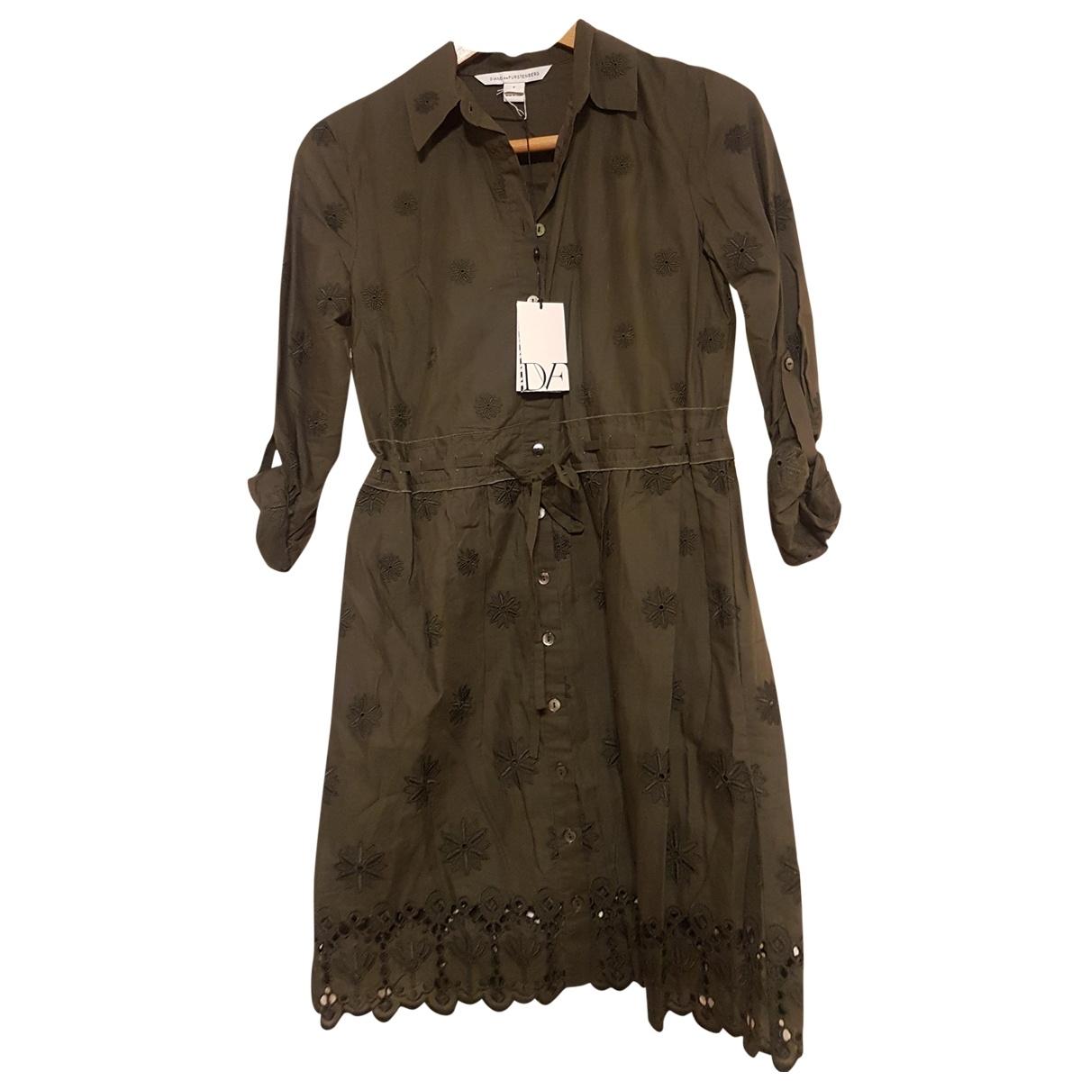 Diane Von Furstenberg \N Kleid in  Khaki Baumwolle