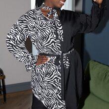 Vestidos Tallas Grandes Cinta Estampado de Cebra Casual