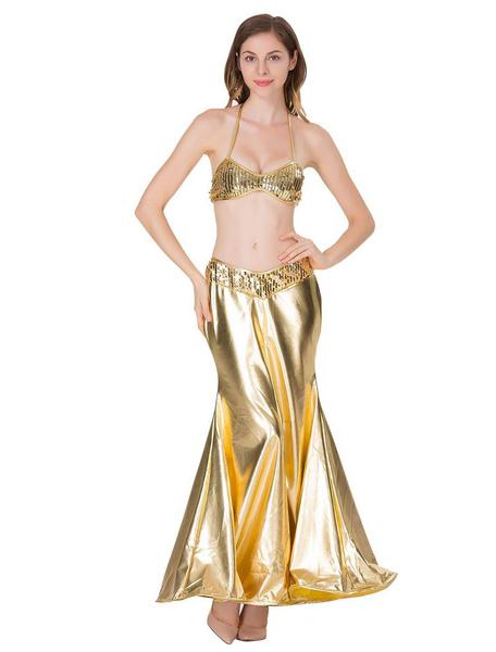 Milanoo Disfraz Halloween Traje de sirena de oro Conjunto de cola de pescado sexy para mujer Halter metalico Sujetador y falda Halloween Carnaval Hall