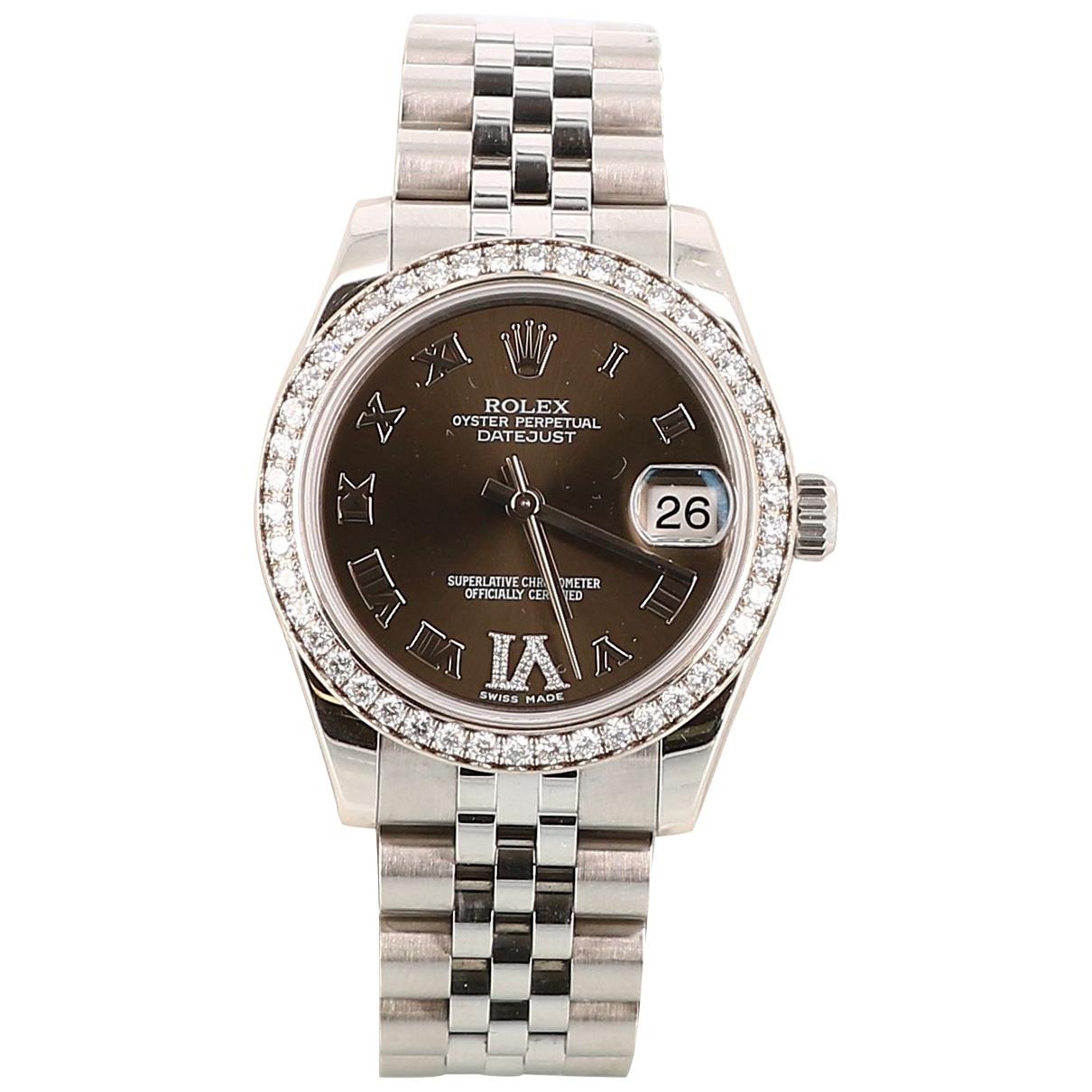 Rolex - Montre   pour femme en acier - argente