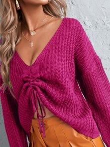 Drop Shoulder Drawstring Ruched Sweater