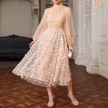 Lantern Sleeve Sequin Detail Sheer Mesh Overlay Dress