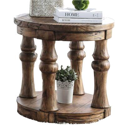 BM208118 Transitional Round End Table with Open Shelf and Turned Legs Antique