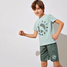 Boys Dinosaur and Letter Graphic Top & Shorts Set