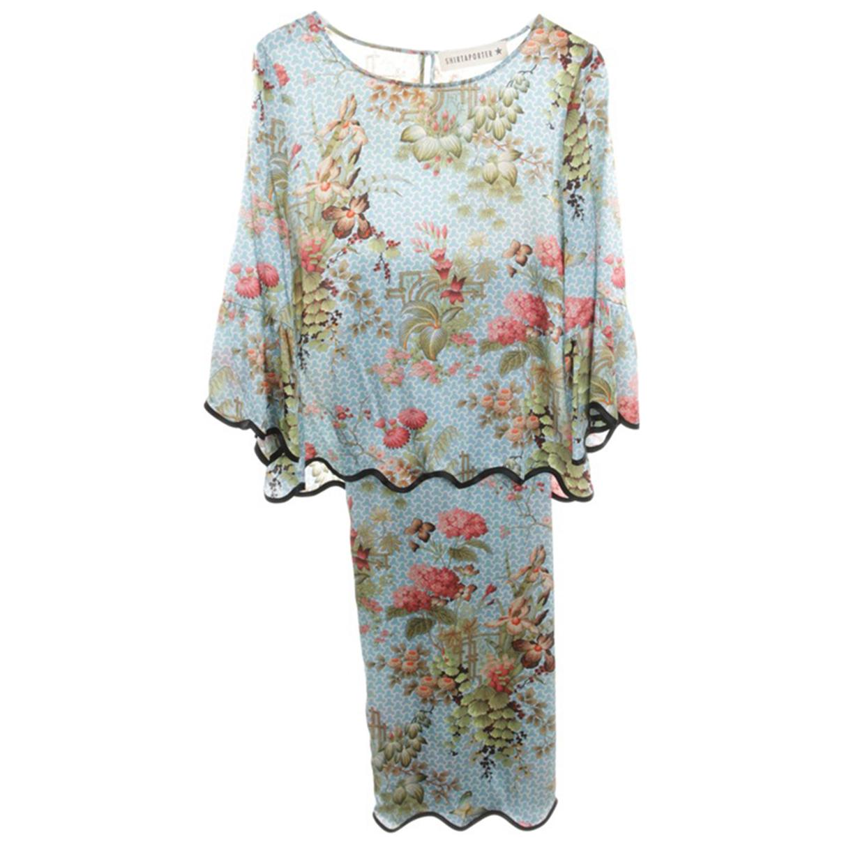 Shirtaporter \N Kleid in  Blau Seide