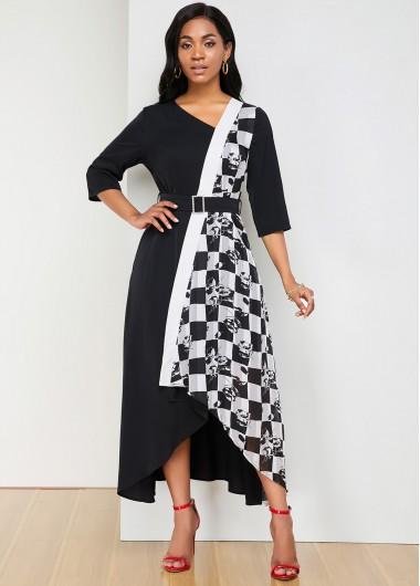 Black Dresses Belted Asymmetric Hem Plaid Print Dress - L