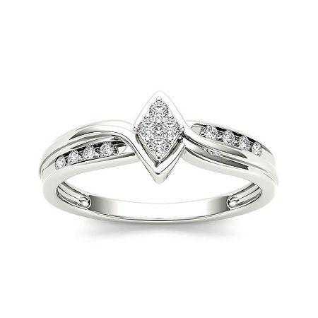 1/10 CT. T.W. Diamond 10K White Gold Engagement Ring, 7 , No Color Family