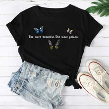 Butterfly And Slogan Graphic Tee
