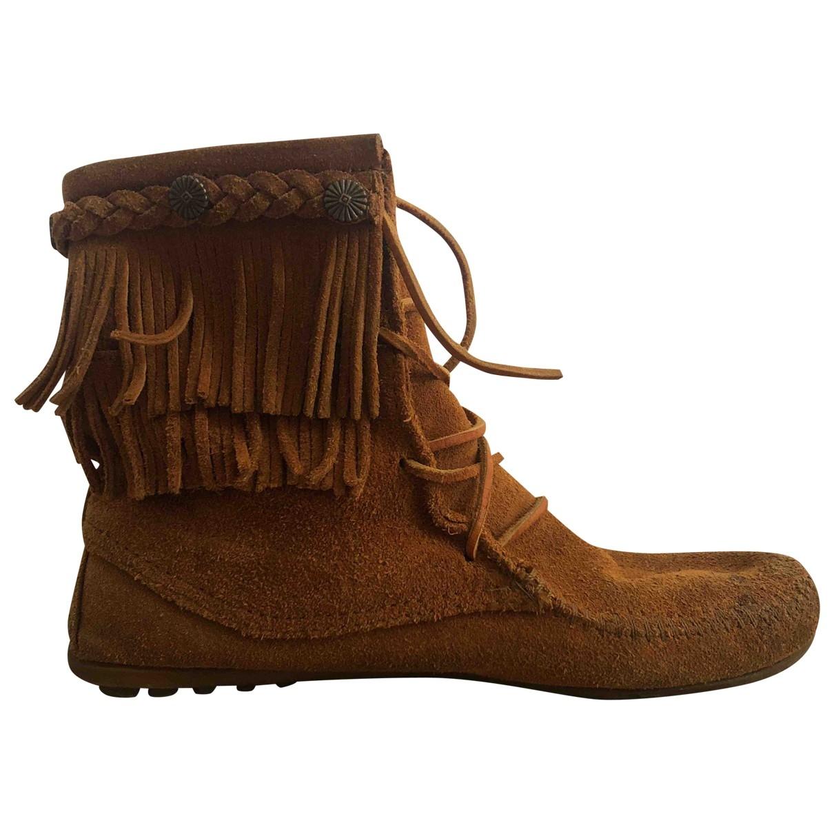 Minnetonka - Boots   pour femme en suede - camel