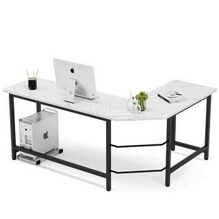 L-Shaped Computer Desk, Modern Workstation Desk (Faux Marble/Black)