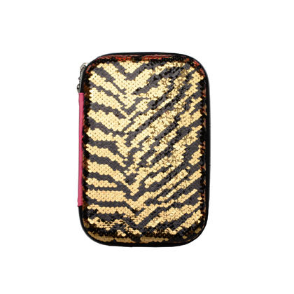 Sequin Leopard Style Pencil Case, 2 Pockets & 1 Clapboard - Moustache® - Yellow