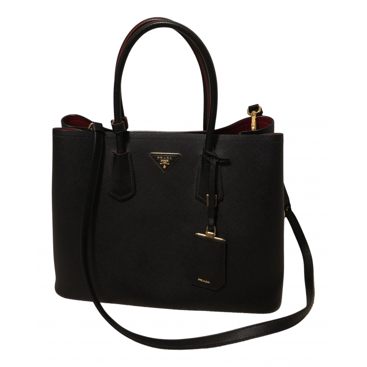 Prada Double Black Leather handbag for Women N