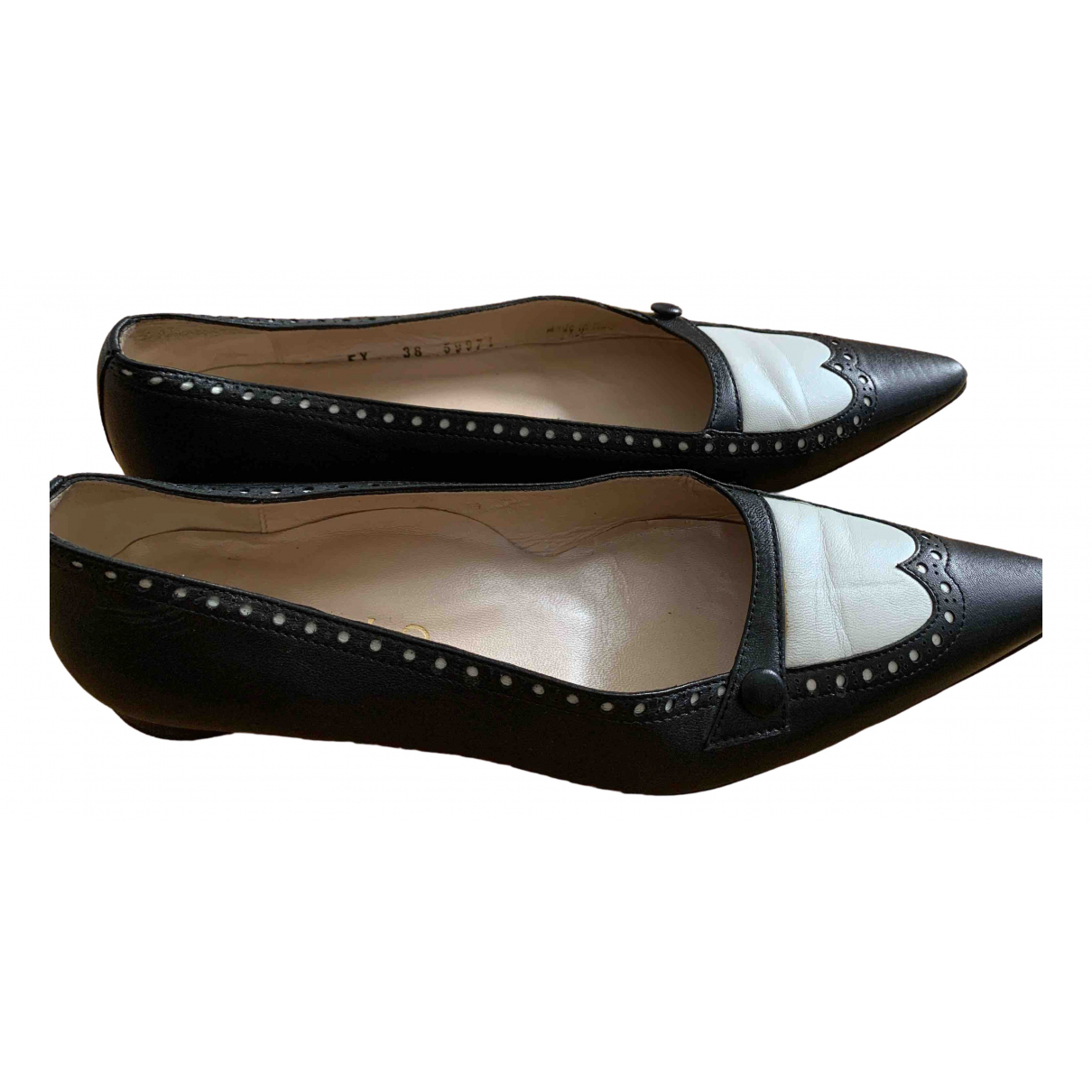 Non Signé / Unsigned \N Black Leather Ballet flats for Women 38 EU