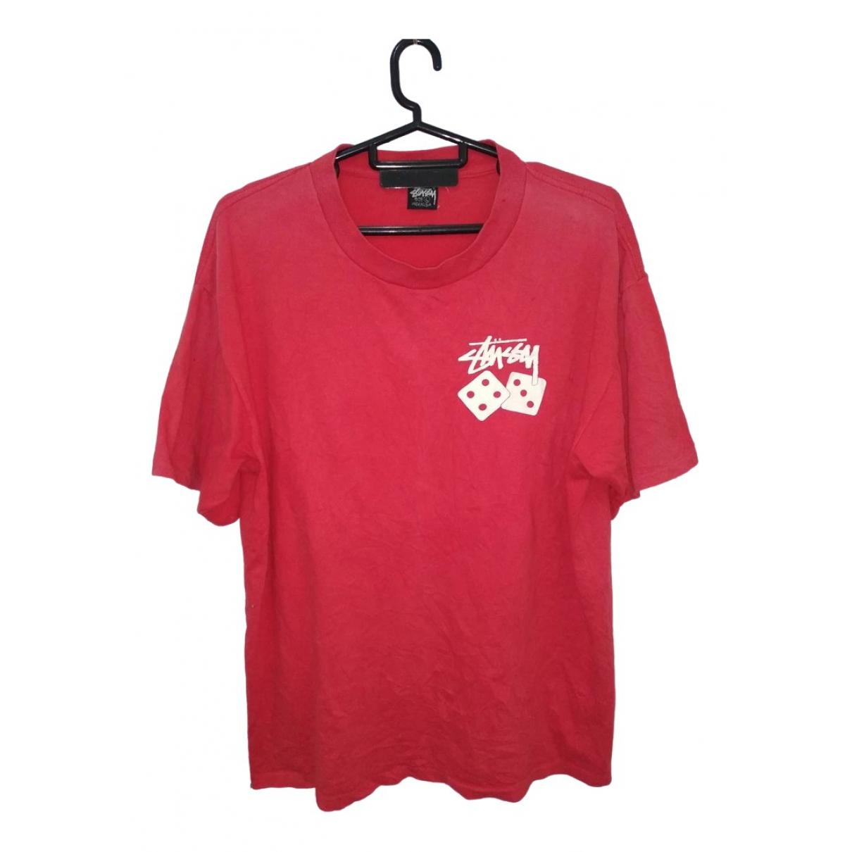 Stussy - Tee shirts   pour homme en coton - rouge