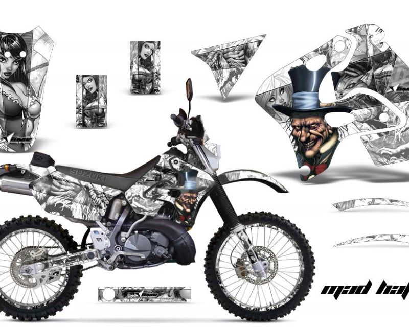 AMR Racing Graphics MX-NP-SUZ-RMX250S-96-98-HAT S W Kit Decal Sticker Wrap + # Plates For Suzuki RMX250S 1996-1998 HATTER SILVER WHITE