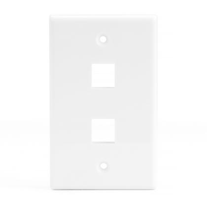 Plaque murale Keystone 2 ports pour RJ45 RJ11 RJ12 RCA type F jack - blanc - PrimeCables® - 1/paquet