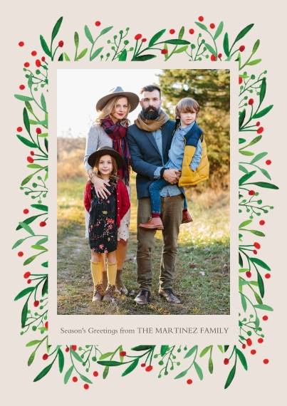 Holiday Photo Cards 5x7 Cards, Standard Cardstock 85lb, Card & Stationery -Holly Frame