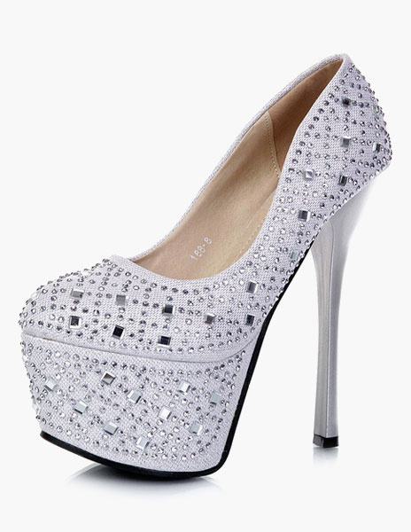 Milanoo Womens Platform shoes Stiletto Heel Jewelled Pumps