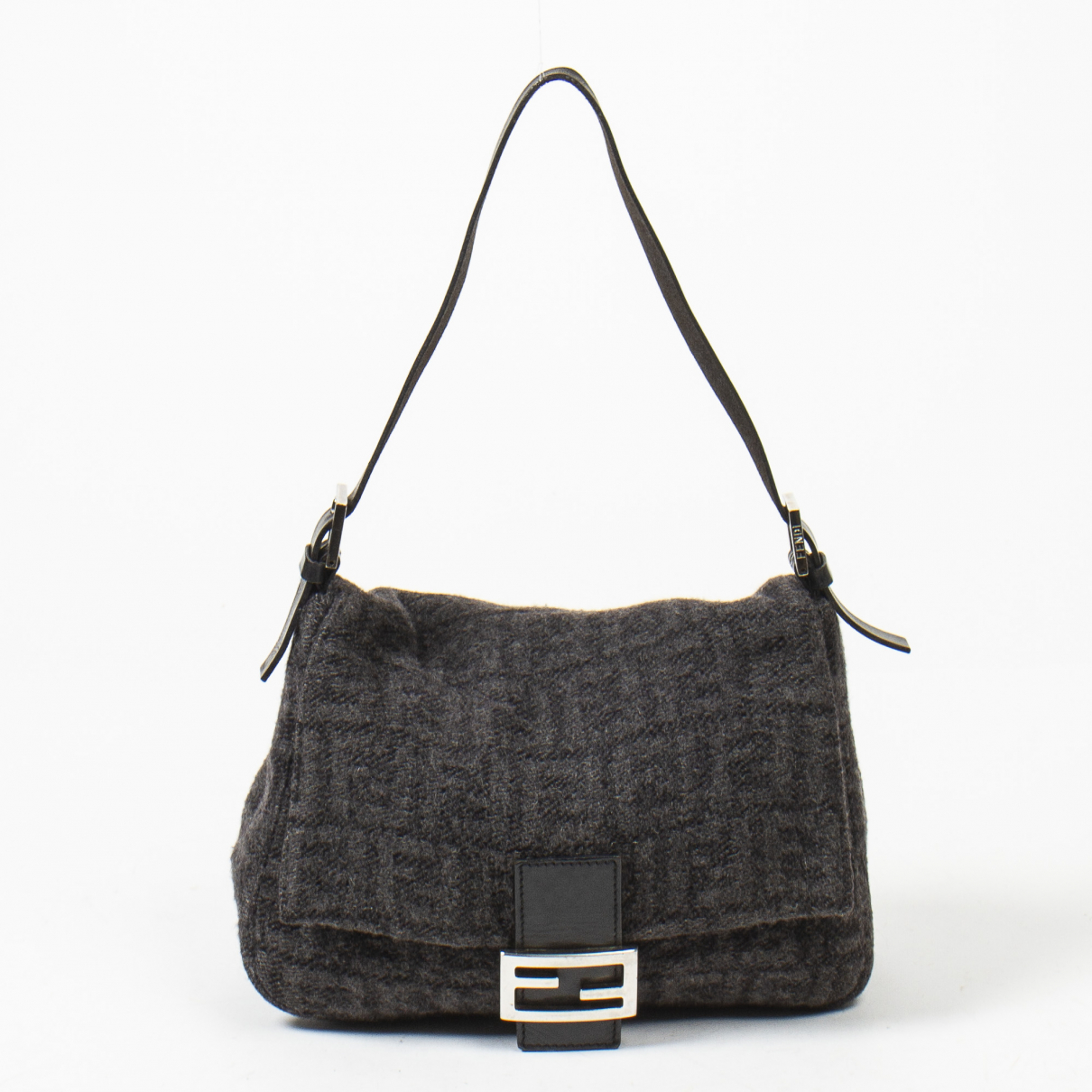 Fendi Mamma Baguette  Handtasche in  Schwarz Baumwolle