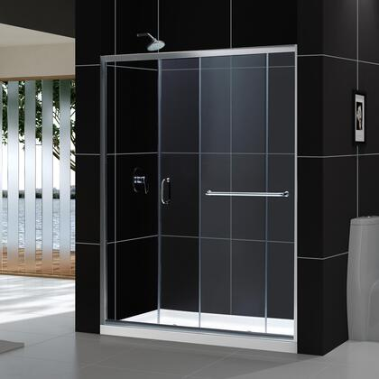 DL-6972C-01CL Infinity-Z 34 In. D X 60 In. W X 74 3/4 In. H Clear Sliding Shower Door In Chrome And Center Drain White