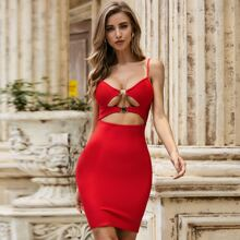 Sesidy Buckle Detail Cut-out Bandage Dress