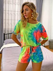 Drop Shoulder Tie Dye Top & Drawstring Waist Shorts Set
