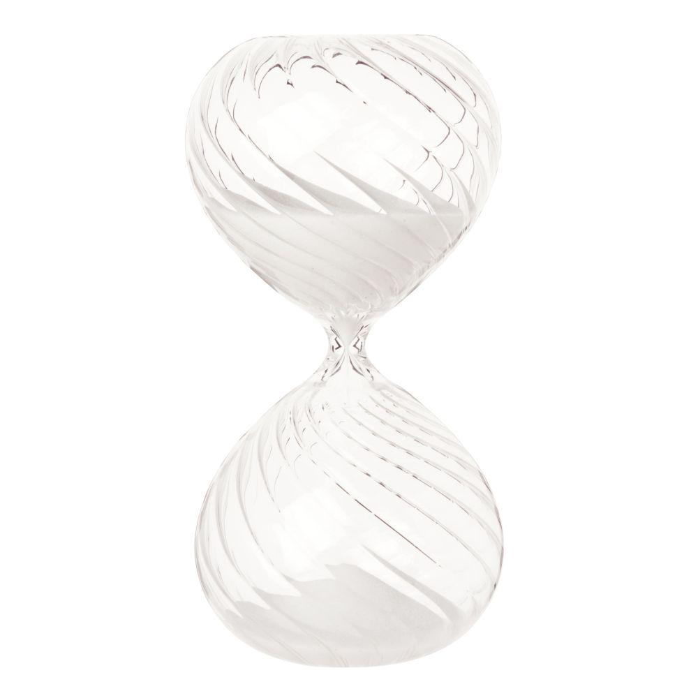 Sanduhr aus Glas, weiss mit optischem Effekt