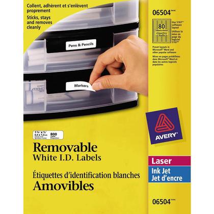 I.D. amovible Avery@ laser / jet d'encre Etiquettes - 1-3/4 x 1/2