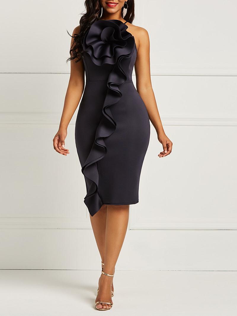 Ericdress Ruffles Spaghetti Strap Sleeveless Womens Sheath Dress