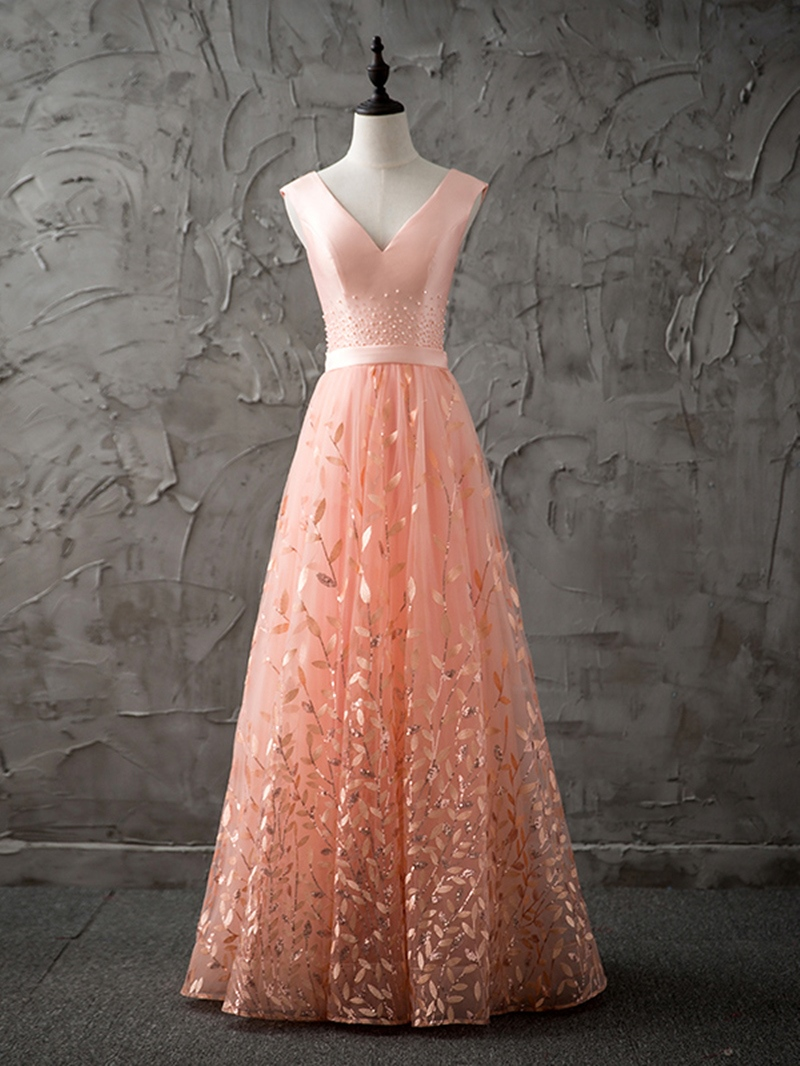 Ericdress A Line V Neck Lace Long Prom Dress With Lace-Up Back