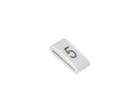HellermannTyton HODS85 Slide On Cable Marker, Pre-printed 5 Black on White 1.8 → 6.3mm Dia. Range